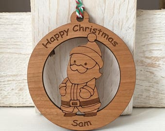 Personalised santa christmas bauble, personalised christmas decoration, santa decoration, christmas tree decoration, wooden bauble