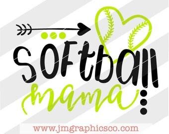 Softball mama svg, eps, dxf, png, cricut, cameo, scan N cut, cut file, softball svg, softball mom svg, softball mama cut file, softball mom