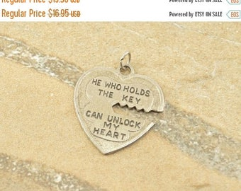 BIG SALE On Sale He Who Holds The Key... Heart Vintage Charm / Pendant Sterling Silver 2.7g