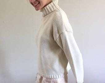 Vintage 90s Ann Taylor Creamy White 100% Cotton Chunky Knitted Turtleneck Sweater