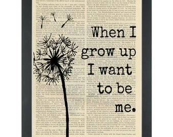 Inspirational quote Nursery When I grow up Dictionary Art Print