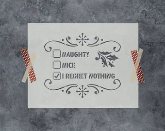 Naughty or Nice Stencil - Reusable DIY Craft Christmas Stencils of Naughty or Nice Checklist