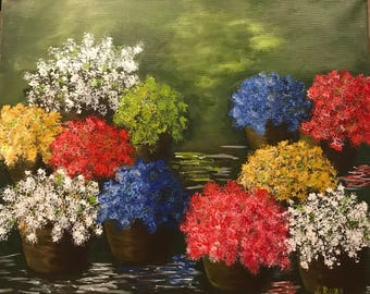 Original acrylic painting on canvas - modern and contemporary art 16 in x 20 in. Title: Flower Farm