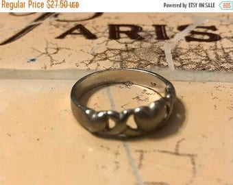 Storewide 45% off Sale Brushed Silver Sterling Silver Hugs and Kisses Hearts and Kisses Ring Size 8