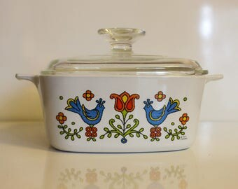 Corning Ware Country Festival Blue Bird Casserole Baking Dish With Handles and Lid ~ Vintage Bakeware ~ Corning Blue Birds Flowers ~ 1.5 QT
