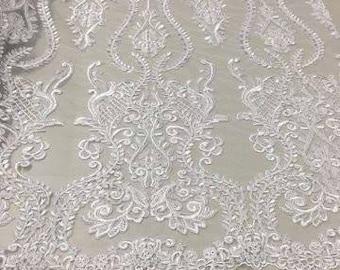 Bridal Lace Fabric/Luxury Haute Couture White Double Trim Bridal Lace