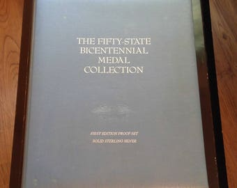 Franklin Mint 50 State Sterling Silver Bicentennial Medal Collection 1st Addition