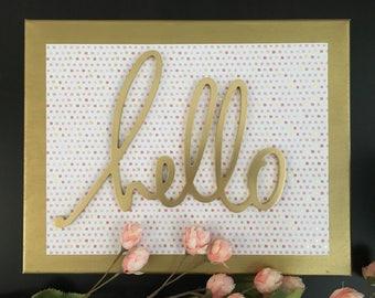 Hello - Canvas Sign, Entryway Decor, Girls Room Decor, Dorm Decor, Gold Decor, Gallery Wall, Housewarming Gift, Hello Sign