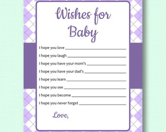 Wishes for Baby - Purple Argyle - Baby Shower Printable