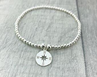 Sterling Silver Stretch Bracelet/Silver Compass Bracelet/Graduation gift/Travel Jewellery/Enjoy The Journey/Good Luck/Silver Ball Bracelet