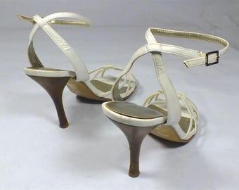 ALDO White Strappy Heels Vintage Style size 38 China