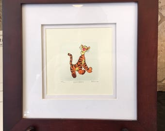 Disney's TIGGER Sowa and Reiser (SIGNED) Limited Edition ETCHING with hand tinted color ~ 332/500 ~ Double Matted and Framed!