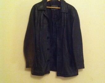 Womens Vintage Jonata Black Leather Coat - Size Medium