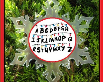 Alphabet lights Christmas ornament - snow flake ornament - stranger things