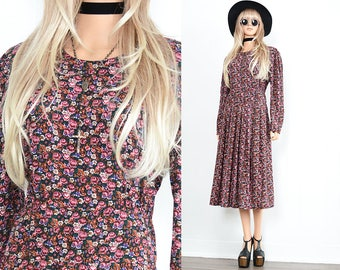 Black Floral Dress 90s Grunge Dress Floral Maxi Dress Boho Dress 90s Dress Floral Dress Vintage 90s Clothing Floral Maxi Bohemian Dress S M