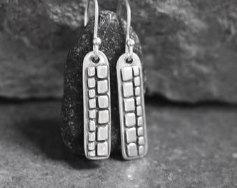 Mosaic Long Drop Earrings - Mosaic Silver - Artisan Earrings - tiles - handmade