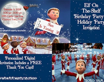 Elf on the Shelf Invitation-Elf on the Shelf Party- Elf on the Shelf Birthday-Personalized with FREE Thank You Card- Digital