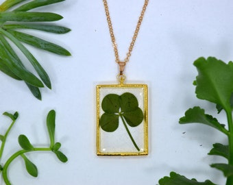 "Genuine 4 Leaf Clover Rectangle Necklace [AC 013] /Rose Gold Tone 18"" Necklace / White Clover Pendant/Triforium Repens/Good Luck Charm"