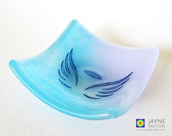 Glass angel bowl, symbol of love, blue and violet purple glass dish, tea light candle holder, angelic gift, earring dish, tealight holder
