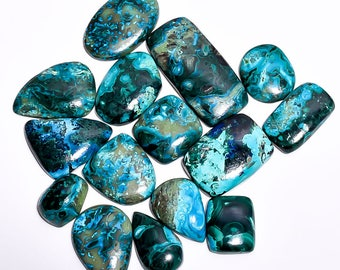 461cts ,15 pieces Lot nice Azurite Chrysocolla Cabochons Loose gemstone Natural Handmade gemstone Z-6315