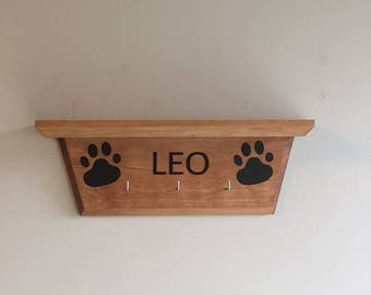Dog Leash Holder w/ Shelf / Dog Leash Hanger / Custom Dog Leash Hanger / Custom Dog Leash Holder / Wood Dog Leash Hanger / Dog Leash Storage