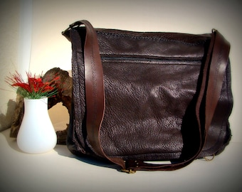 Large brown leather hand-stitched shoulder bag