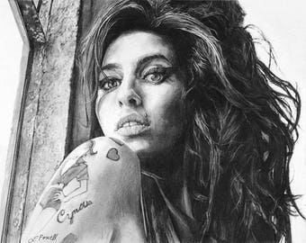 """Amy Winehouse Charcoal Drawing Print 8""""x10"""" (Limited Edition)"""