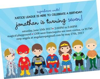 Justice League Superhero DC Comics Birthday Invitation