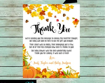 """Baby Shower Fall Autumn Leaves Pumpkin """"Fall in Love"""" Party Thank You Note Notes Cards Personalized Custom Design ~ We Print and Mail to You"""