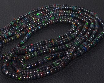 Natural Wello Black Opal Multi Fire High Quality Ethiopian Opal Smooth Rondelle Beads 4.5 - 3 MM Size 16 Inches Strand