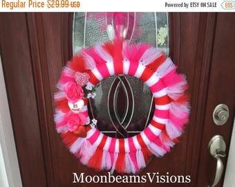 25% OFF Valentine tulle wreath, Valentine wreath, Valentine's Day wreath, tulle wreath, red pink white tulle wreath, indoor wreath