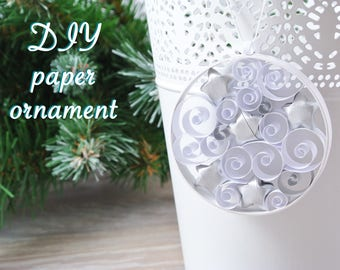 DIY kit ball hanging Christmas decoration. Ornament paper quilling for beginner kit, kit creative child or adult, color choice.