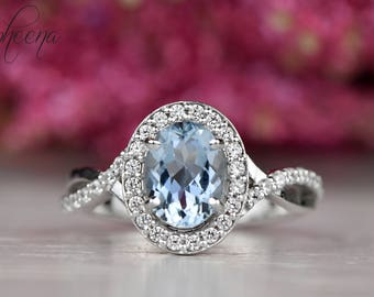 Aquamarine Engagement Ring in 14k White Gold,8x6mm Oval Halo Twisted Solitaire Ring, Diamond Wedding Ring, March Birthstone Ring by Sapheena