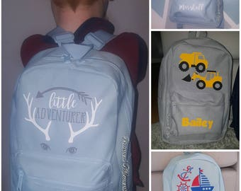 Personalised boys backpack - adventure/digger/sailor/elephant