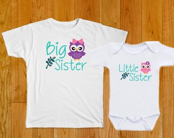 Big Sister Little Sister Owls - Matching Shirts - Big Sister Shirt - Little Sister Shirt - Matching Sister Shirts - Sister Matching Shirts