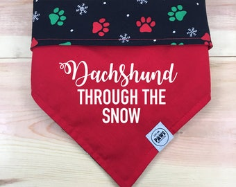 Open to see all 8 options! Christmas Paws Sayings Reversible Bandana
