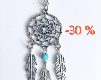 SUMMER SALE / / / boho Dreamcatcher necklace / small / silver and turquoise