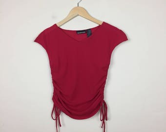 90s DKNY Mesh Top Size M, Red Mesh Top, 90s Red Top M