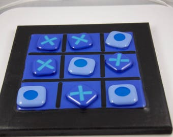 Fused glass tic tac toe