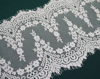 White Embroidery Flower Lace Fabric Lace Trim 12.59 Inches Wide 1.64 Yards/ Craft Supplies, WL1435