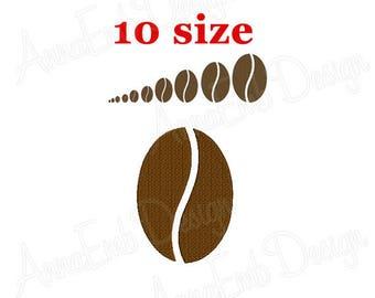 Coffee Bean Embroidery Design. Coffee Bean mini embroidery design. Machine embroidery design. Coffee design. Coffee Bean Silhouette