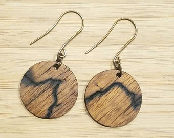 NEW Elements Line - by Smitten Sloth - Wooden Earrings - One of kind - High voltage burn -