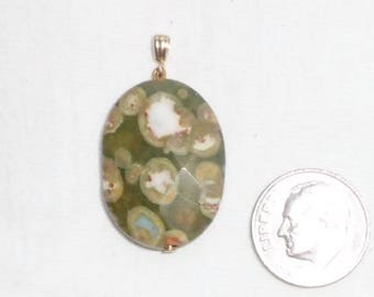 """14k Yellow Gold Orbicular Jasper Faceted Checkerboard Oval Pendant Large Big 3.5g Green Ocean Spotted 1-1/4"""" Long Marked 14 k kt 14kt Olive"""