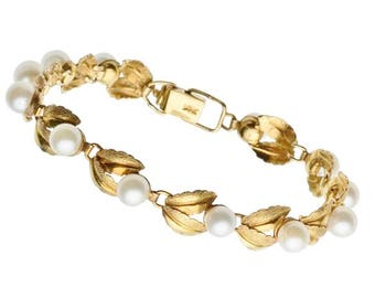 "Estate 14k HEAVY Yellow Gold White Pearl Bracelet 9.6g 1/3 ounce Segmented Leaf Design 7"" Tennis Marked 14 k kt 14kt Vintage Station Chain"