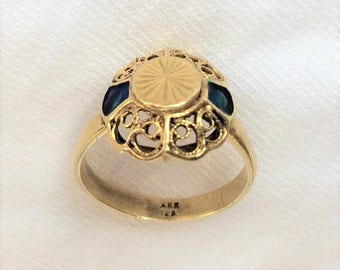 Vintage Genuine 14K Yellow Gold Art Deco Ring sz 4.75 Blue Enamel Round Shield Filigree 2.5g Marked 14 K Kt 14kt Stamped ARR Signet Pinky