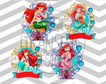 Little Mermaid Personalized Digital Image,4 PNG Printable Iron On Transfer, Sticker custom, power point editable text and Font