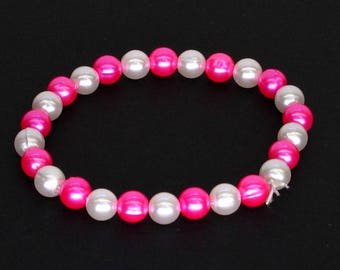 Pink and White Pearlescent Elastic Beaded Bracelet