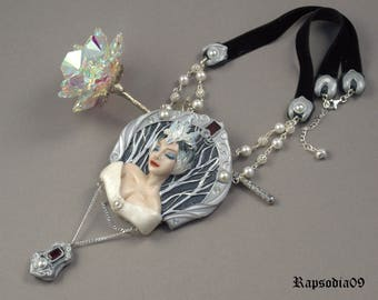 Statement jewelry Pendant  Snow Queen Polymer clay pendant Art Nouveau jewelry Black silver necklace Fantasy pendant OOAK jewelry