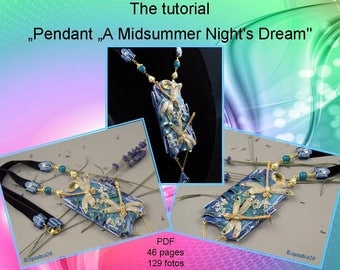 PDF tutorial pendant  dragonflies Polymer clay pendant tutorial fantasy  Art nouveau pendant pdf Polymer clay diy