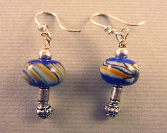 Blue and Yellow Swirl Glass Bead Dangle Earrings